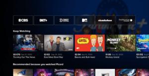 Paramount+ Streaming Menu
